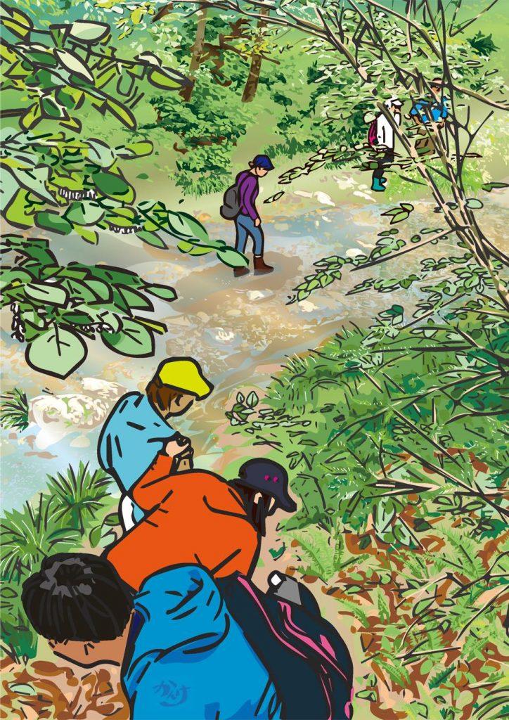 ポストカードイラスト「恵みの森  <ぼくら恵みの森探検隊>」