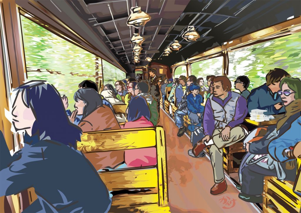 イラスト「びゅうコースター 風っこ 会津只見号(トロッコ列車)〜201010〜」